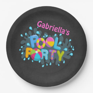 Bright  Personalized Pool Party Paper Plates