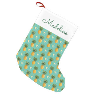 Bright Pineapples On Geometric | Add Your Name Small Christmas Stocking