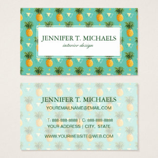 Bright Pineapples On Geometric Pattern Business Card