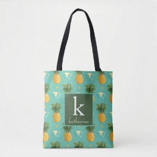 Bright Pineapples On Geometric Pattern   Monogram Tote Bag