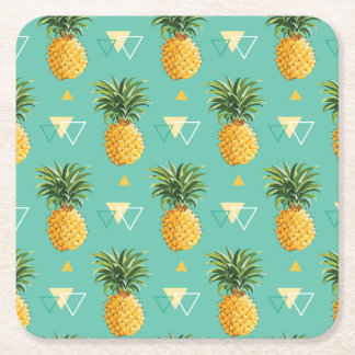 Bright Pineapples On Geometric Pattern Square Paper Coaster
