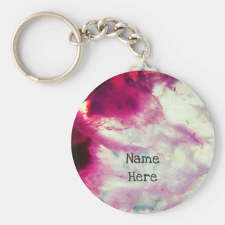 Bright Pink Agate Crystal Key Ring