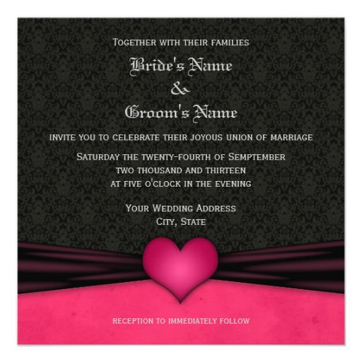 Bright Pink and Black Damask Wedding Invitations