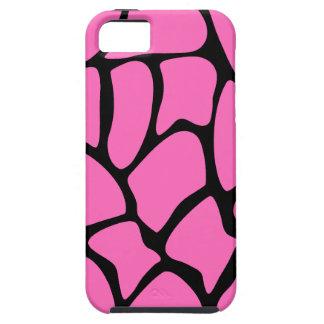 Bright Pink and Black Giraffe Print Pattern. iPhone 5 Case