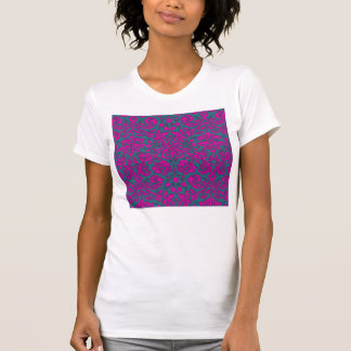 Bright Pink and Blue Damask Tee Shirts