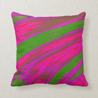 Bright Pink and Green Colour Abstract Design Cushion