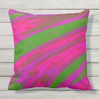 Bright Pink and Green Colour Abstract Design Outdoor Cushion