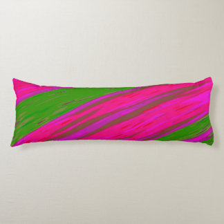 Bright Pink and Green Colour Swish Abstract Body Cushion