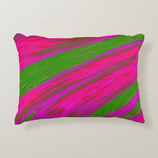 Bright Pink and Green Colour Swish Abstract Decorative Cushion