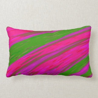 Bright Pink and Green Colour Swish abstract Lumbar Pillow
