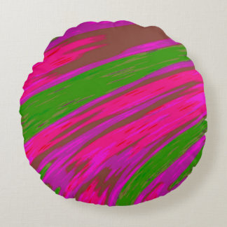 Bright Pink and Green Colour Swish Abstract Round Cushion