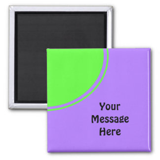 Bright pink and green mod circle square magnet