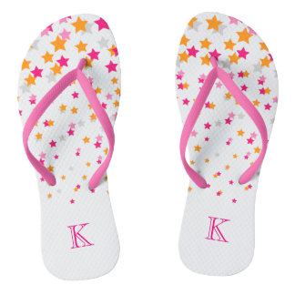 Bright Pink and Orange Confetti Stars Monogram Thongs