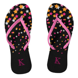 Bright Pink and Orange Confetti Stars on Black Thongs