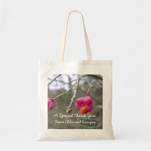 Bright Pink And Orange Flower Personalized Wedding Canvas Bag