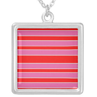 Bright pink and red stripes square pendant necklace