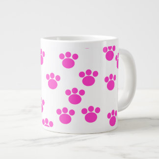 Bright Pink and White Paw Print Pattern. Large Coffee Mug
