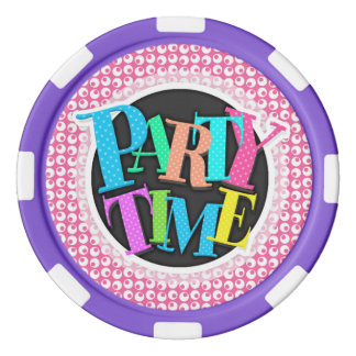 Bright Pink and White Retro Polka Dots Set Of Poker Chips