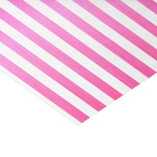 Bright Pink and White Stripes Tissue Paper