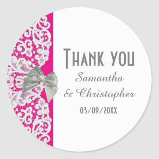 Bright pink and white traditional lace thank you round sticker