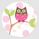 Bright Pink Baby Owl Classic Round Sticker