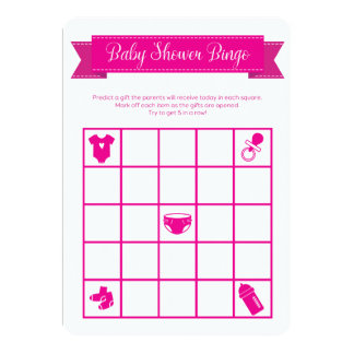 Bright Pink Baby Shower Bingo Game Double Sided 13 Cm X 18 Cm Invitation Card