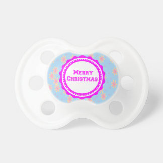 Bright Pink Baby's First Merry Christmas  Pacifier