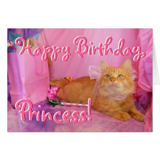 Bright Pink Birthday Cat Card