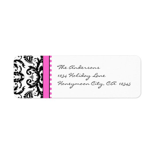 Bright Pink & Black Damask Dots Address Labels