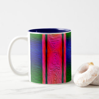 Bright Pink, Blue and Green Oil Painting Mug