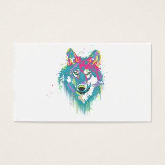 Bright Pink Blue Neon Watercolors Splatters Wolf