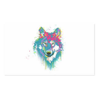 Bright Pink Blue Neon Watercolors Splatters Wolf Pack Of Standard Business Cards