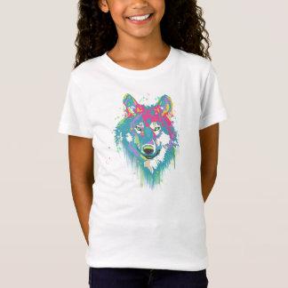 Bright Pink Blue Neon Watercolors Splatters Wolf T-Shirt