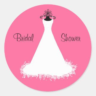 Bright Pink Bridal Shower Envelope Seal Round Sticker