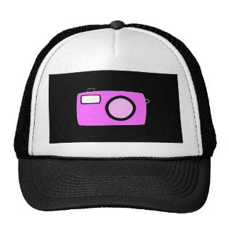 Bright Pink Camera On Black Mesh Hat