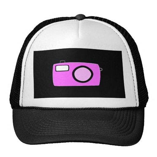 Bright Pink Camera. On Black. Mesh Hat
