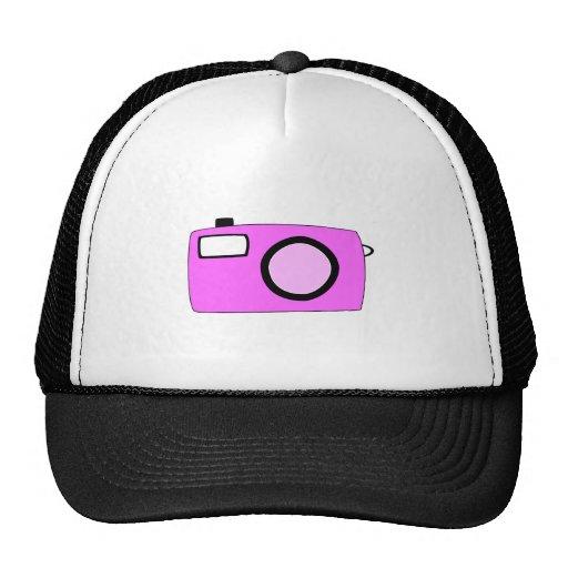 Bright Pink Camera. On White. Trucker Hat