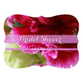 Bright Pink Carnation Bridal Shower 3 Card