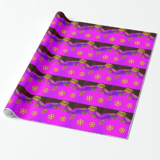 Bright Pink Christmas Ornament Wrapping Paper