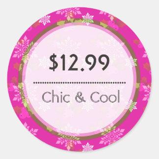 Bright Pink Christmas Snowflakes Price Tag Round Sticker