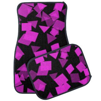 Bright Pink Confetti on Black Car Mat