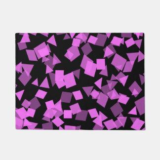 Bright Pink Confetti on Black Doormat
