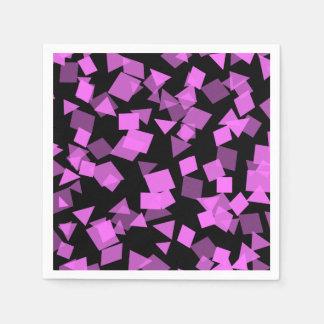 Bright Pink Confetti on Black Paper Napkins