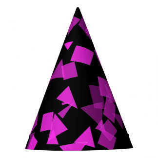 Bright Pink Confetti on Black Party Hat