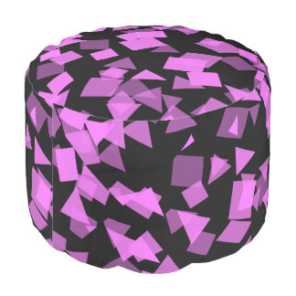 Bright Pink Confetti on Black Pouf