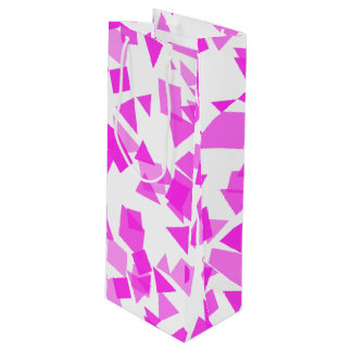 Bright Pink Confetti on White Wine Gift Bag