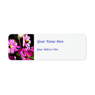 Bright Pink Cosmos with a Bee Return Address Label