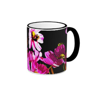 Bright Pink Cosmos with a Bee Coffee Mugs