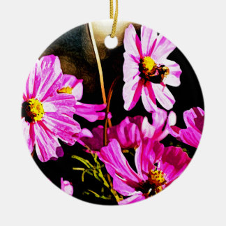 Bright Pink Cosmos with a Bee Round Ceramic Decoration