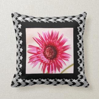 Bright pink daisy on B&W plaid Throw Pillow